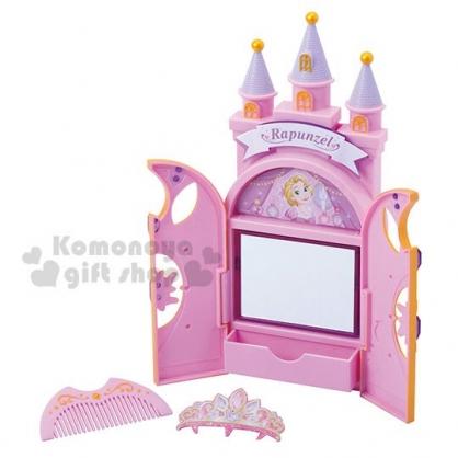 〔小禮堂〕迪士尼 長髮公主 城堡造型化妝鏡梳妝玩具組《紫》兒童玩具.美容玩具