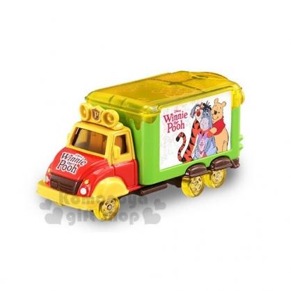 〔小禮堂〕迪士尼 小熊維尼 TOMICA小汽車《黃綠.宣傳車》模型.公仔.玩具.特別紀念版