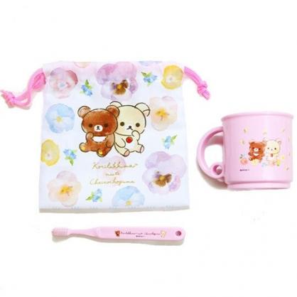 〔小禮堂〕懶懶熊 拉拉熊 塑膠牙刷杯組附束口袋《粉.花朵》漱口杯.縮口袋
