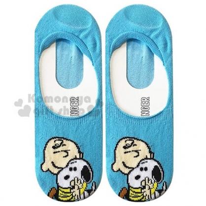 〔小禮堂〕史努比 成人隱形襪《藍.抱抱》腳長23-25cm.短襪.棉襪
