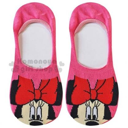 〔小禮堂〕迪士尼 米妮 成人隱形襪《粉.大臉》腳長23-25cm.短襪.棉襪