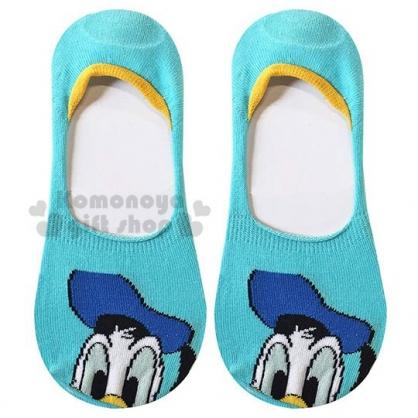 〔小禮堂〕迪士尼 唐老鴨 成人隱形襪《綠藍.大臉》腳長23-25cm.短襪.棉襪