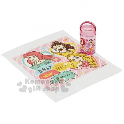 〔小禮堂〕迪士尼 公主 日製方形毛巾附罐《粉紫.愛心框》29x29cm.手帕.毛巾罐