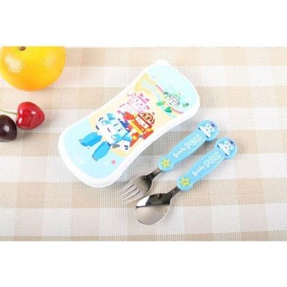 〔小禮堂〕POLI波力救援小英雄 盒裝不鏽鋼兩件式餐具組《藍.大臉》湯叉.環保餐具.兒童餐具
