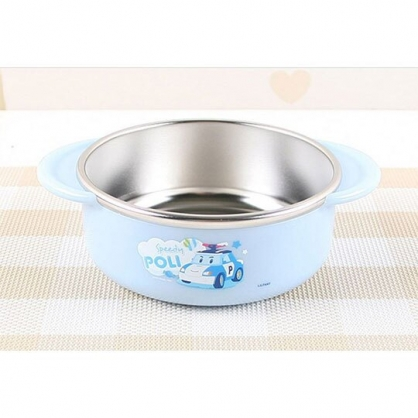 〔小禮堂〕POLI波力救援小英雄 雙耳不鏽鋼碗《藍銀.大臉雲朵》370ml.湯碗.隔熱碗