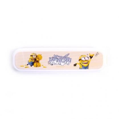 〔小禮堂〕小小兵 長方形塑膠掀蓋餐具盒《黃白.抱香蕉》收納盒.置物盒