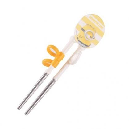 〔小禮堂〕小小兵 兒童造型不鏽鋼學習筷《黃.推擠》環保筷.環保餐具.兒童餐具