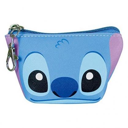〔小禮堂〕迪士尼 史迪奇 皮質船形零錢包《藍.大臉》耳機包.收納包.掛飾