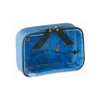 〔小禮堂〕迪士尼 阿拉丁 防水帆布方形化妝包《藍.字母》收納包.筆袋