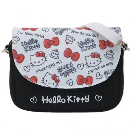〔小禮堂〕Hello Kitty 棉質扣式觸控手機包斜背包《黑白.蛋糕》側背包.相機包