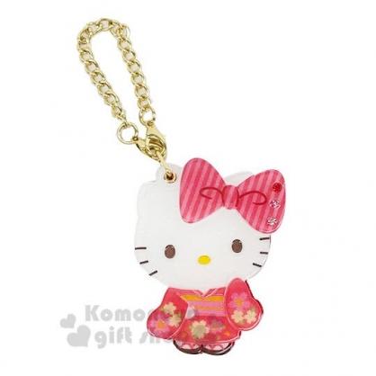 〔小禮堂〕Hello Kitty 和風造型壓克力吊飾隨身鏡《紅.和服》折鏡.掛飾