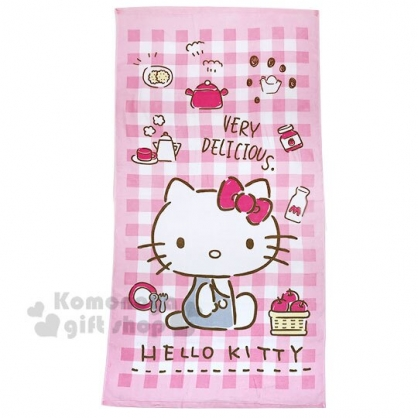 〔小禮堂〕Hello Kitty 純棉割絨大浴巾《粉白.格紋料理》74x140cm.毛巾