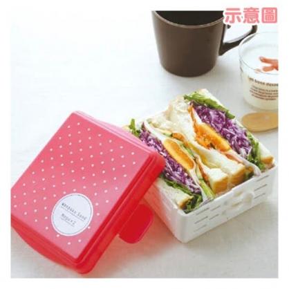 〔小禮堂〕日本MOGUMOGU 塑膠三明治切割收納盒《粉.袋裝》模具.食物盒.保鮮盒