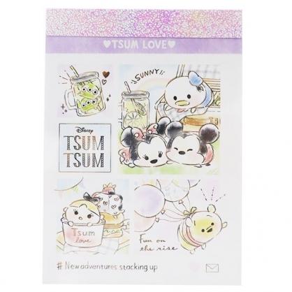 〔小禮堂〕迪士尼TsumTsum 日製迷你便條本《白紫.野餐》便條紙.留言紙.信紙