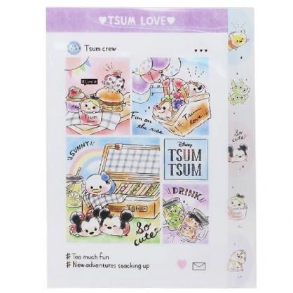 〔小禮堂〕迪士尼 TsumTsum 日製L型分類文件夾《A4.紫白.野餐》資料夾.檔案夾.L夾