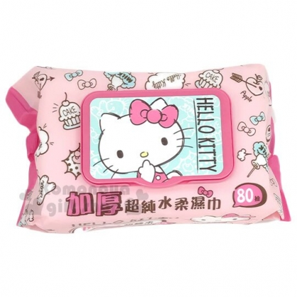 〔小禮堂〕Hello Kitty 80抽附蓋加厚濕紙巾《粉綠.摸嘴》家庭用濕巾.柔濕巾
