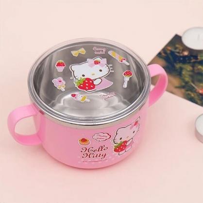 〔小禮堂〕Hello Kitty 雙耳附蓋平底不鏽鋼碗《粉.拿叉》平底碗.隔熱碗.兒童碗