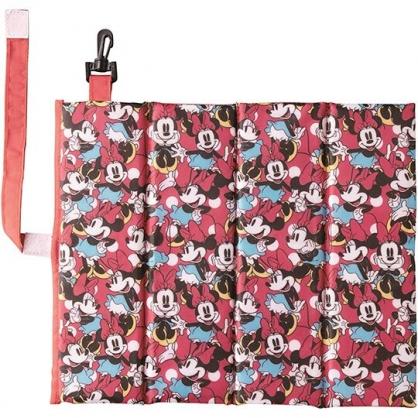〔小禮堂〕迪士尼 米妮 攜帶式折疊野餐坐墊《紅.站姿滿版》27x31cm.野餐墊.海灘墊