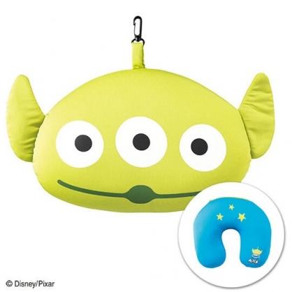 〔小禮堂〕迪士尼 三眼怪 大臉造型可收納尼龍U型頸枕《綠白》午安枕.靠墊.抱枕