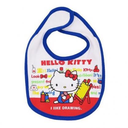 〔小禮堂〕Hello Kitty 嬰兒魔鬼氈棉質圍兜《藍紅.畫畫》口水圍兜.口水巾