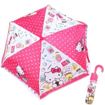 〔小禮堂〕Hello Kitty 彎把防風傘骨折疊傘《粉白.甜點坐姿》雨傘.折傘.雨具