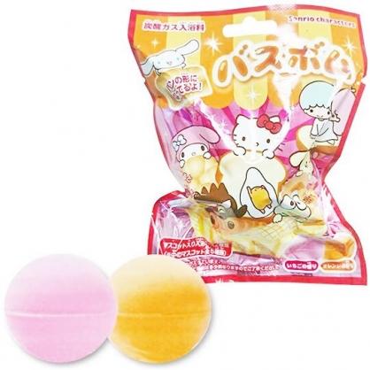 〔小禮堂〕Sanrio大集合 造型入浴球《8款隨機.紅.麵包》入浴劑.泡澡球