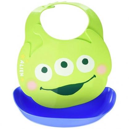 〔小禮堂〕迪士尼 三眼怪 日製造型防水圍兜《綠藍.大臉》吃飯圍兜.口水巾