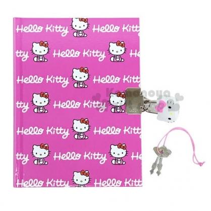 〔小禮堂〕Hello Kitty 迷你左翻硬殼筆記本附造型鎖《桃.字母滿版》記事本.交換日記