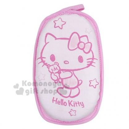 〔小禮堂〕台灣佳美 Hello Kitty 嬰兒身體沐浴澡棉《粉.抱小熊》洗澡海棉.搓澡巾