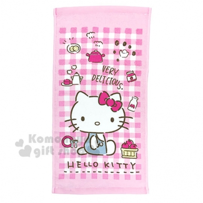 〔小禮堂〕Hello Kitty 純棉割絨長毛巾《S.粉白.格紋側坐》27x54cm.兒童毛巾