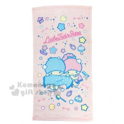 〔小禮堂〕雙子星 純棉割絨長毛巾《S.粉藍.洗澡》27x54cm.兒童毛巾