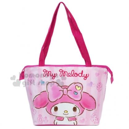 〔小禮堂〕美樂蒂 尼龍橫式保冷側背袋《粉.條紋大臉》便當袋.野餐袋.購物袋
