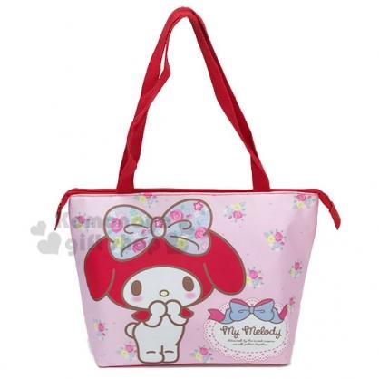〔小禮堂〕美樂蒂 尼龍橫式保冷側背袋《粉.花朵站姿》便當袋.野餐袋.購物袋