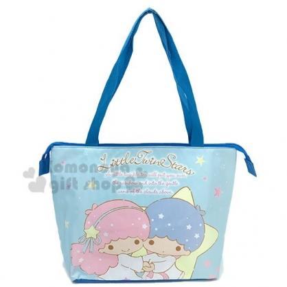 〔小禮堂〕雙子星 尼龍橫式保冷側背袋《藍.抱抱》便當袋.野餐袋.購物袋