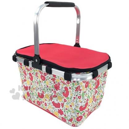 〔小禮堂〕Hello Kitty 可折疊保冷野餐籃提籃《紅黃.花朵滿版》野餐袋.保冷箱