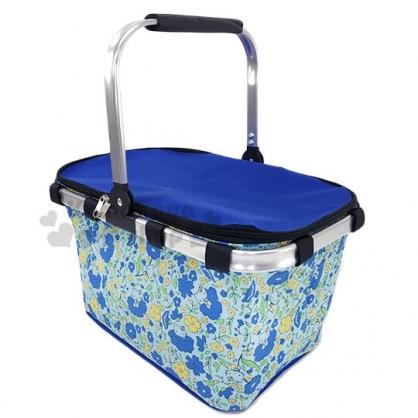 〔小禮堂〕Hello Kitty 可折疊保冷野餐籃提籃《藍黃.花朵滿版》野餐袋.保冷箱
