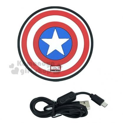 〔小禮堂〕漫威英雄 Marvel美國隊長 矽膠圓形無線充電板《紅藍.盾牌》無線充電器