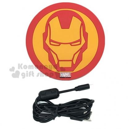 〔小禮堂〕漫威英雄 Marvel鋼鐵人 矽膠圓形無線充電板《紅黃.大臉》無線充電器