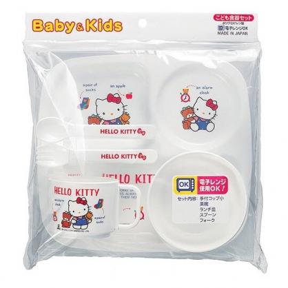 〔小禮堂〕Hello Kitty 日製兒童塑膠五件式餐具組《白.藍衣》環保餐具.兒童餐具