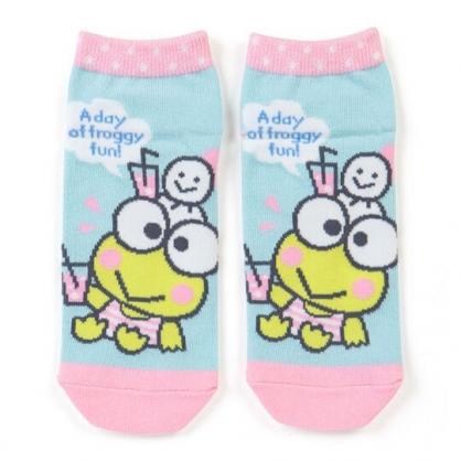 〔小禮堂〕大眼蛙 成人及踝襪《藍粉.飲料杯》腳長23-25cm.短襪.棉襪