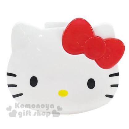 〔小禮堂〕Hello Kitty 大臉造型塑膠耳機收納盒《白紅》置物盒.捲線器.銅板小物