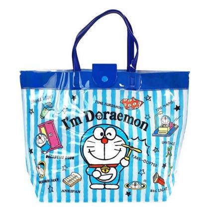 〔小禮堂〕哆拉A夢  防水海灘袋側背袋《藍.拿竹蜻蜓》手提袋.透明游泳袋