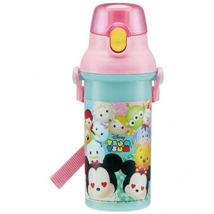 〔小禮堂〕迪士尼 TsumTsum 日製直飲式水壺附背帶《粉綠.大臉》480ml.水瓶.兒童水壺