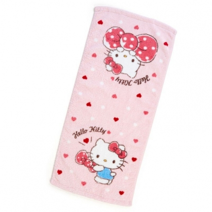 〔小禮堂〕Hello Kitty 純棉無捻紗長毛巾《粉.抱蝴蝶結》34x76cm.長巾