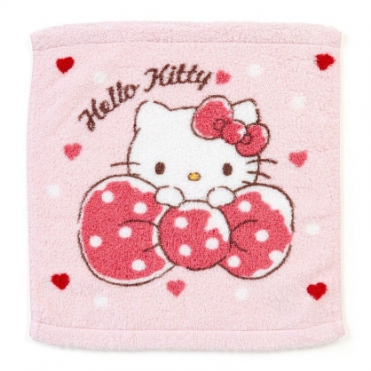 〔小禮堂〕Hello Kitty 純棉無捻紗方形毛巾《粉.抱蝴蝶結》34x36cm.方巾