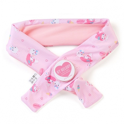 〔小禮堂〕美樂蒂 冰枕式透氣涼感毛巾《粉》7x85cm.涼感圍巾.運動毛巾