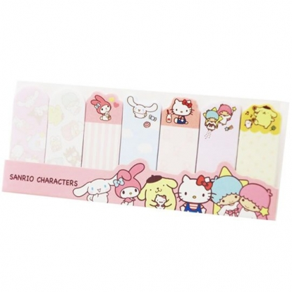 〔小禮堂〕Sanrio大集合 日製造型自黏標籤貼《粉.排站》便利貼.便條紙.書籤貼