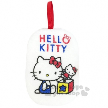 〔小禮堂〕Hello Kitty 身體沐浴澡棉《白紅.驚奇箱》洗澡海棉.搓澡巾