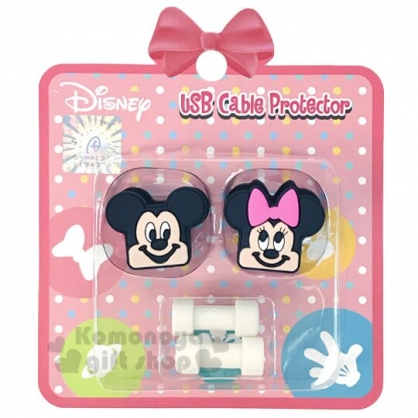 〔小禮堂〕迪士尼 米奇米妮 造型傳輸線保護套組《2入.粉黑.大臉》USB線套.充電線套