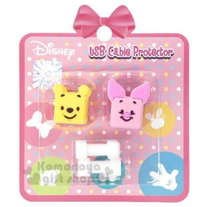 〔小禮堂〕迪士尼 小熊維尼 造型傳輸線保護套組《2入.粉黃.大臉》USB線套.充電線套